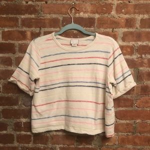 Anthropologie striped cropped tee